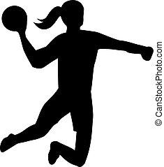 lancement, handball, balle, femme