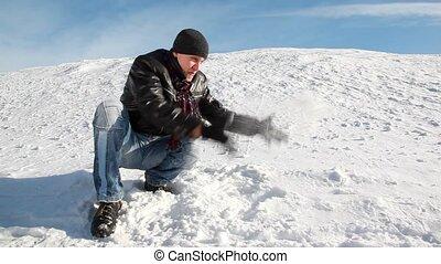 lancement, homme neige, haut, séance