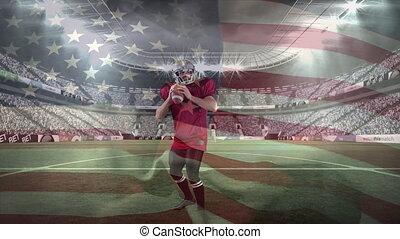 lancement, joueur, mâle, balle rugby, stade, contre