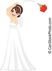 lancement, mariée, bouquet