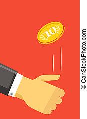 lancement, monnaie, humain, or, main