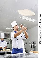 lancement, pâte, pizza