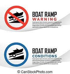 lancement, rampe, bateau, avertissement, conditions, signes