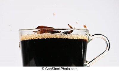 lancement, sucre, café noir, cubes, brun, tasse