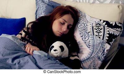 lancer, femme, tourner, bed., dormir