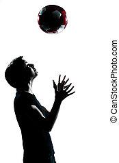 lancer, girl, football, jeune, garçon, football, adolescent, silhouette