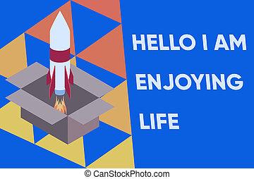 lancering, inspiration., vuur, spullen, foto, conceptueel, box., ontspannen, project., hallo, op, meldingsbord, brandstof, raket, het tonen, genieten, life., het genieten van, vrolijke , tekst, karton, levensstijl, eenvoudig, startend