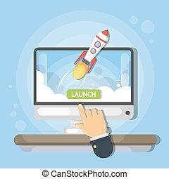 lancering, nieuw, business.
