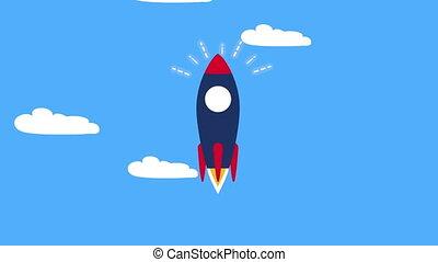 lanceur, début, animation, fusée, haut