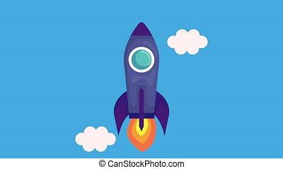 lanceur, début, fusée, animation, haut