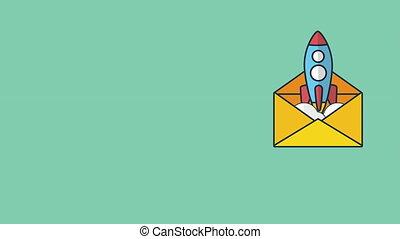 lanceur fusée, enveloppe, haut, début, courrier