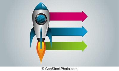 lanceur fusée, haut, début