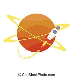 lanceur, icône, début, planète, fusée, haut, autour de