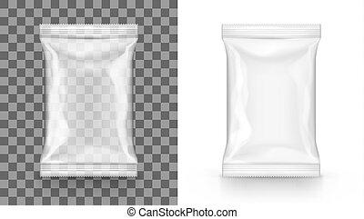 lanche, pacote, alimento, sachet, saco, em branco, branca,...
