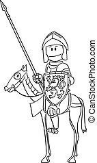 lancia, cavallo, scudo, seduta, armatura, cavaliere, cartone animato, vettore, sentiero per cavalcate, o