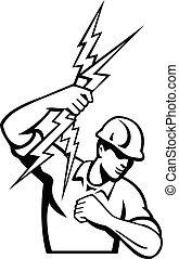 lancio, elettricista, bullone, guardalinee, potere, lampo, ...