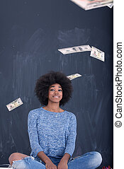 lancio, soldi, donna, nero