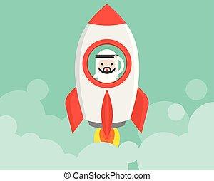 lancio, uomo affari, carino, su, inizio, situazione, affari, arabo, razzo, concetto