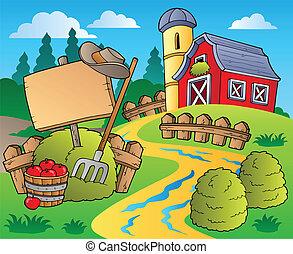 land, 5, scen, röd ladugård