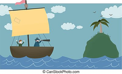 Land ahoy! - Cartoon image of a sailing ship approaching a...