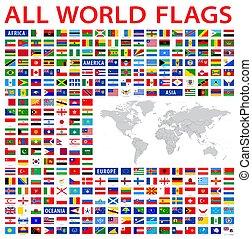 land, alla, flaggan, värld