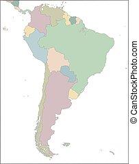 land, amerika, syd, kontinent, karta