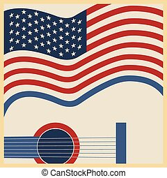 land, amerikanische , musik, plakat