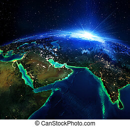 land area in Arabia, and India the night