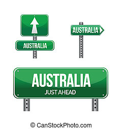 land, australien, vägmärke