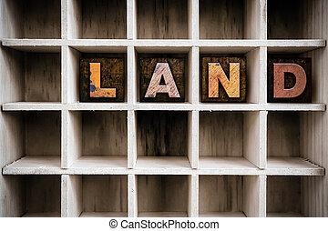 Land Concept Wooden Letterpress Type in Drawer