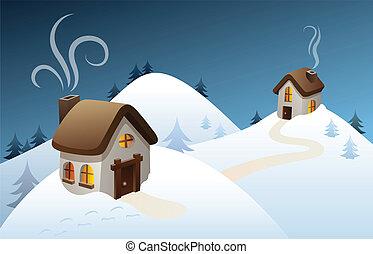 land, de scène van de winter