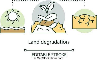 Land degradation concept icon. Soil erosion. Arid region. ...
