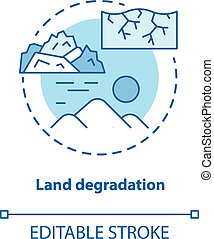 Land degradation concept icon. Soil impoverishment idea thin...
