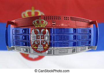 land, fahne, begriff, serbien, server