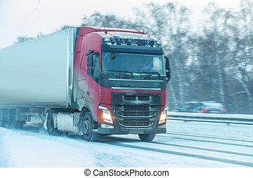 land, flyttningar, lastbil, motorväg