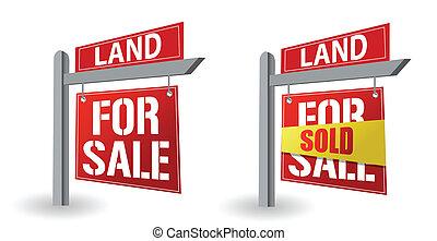Land for sale sign illustration design over a white ...