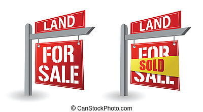 Land for sale sign illustration design over a white...