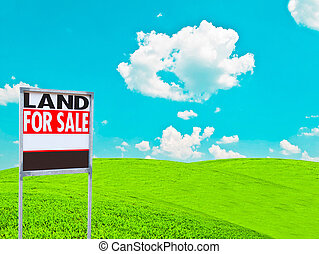 """""""LAND FOR SALE SIGN"""" on empty meadow - Real estate conceptual image"""