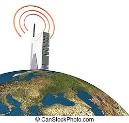 land, freigestellt, radio, hintergrund, internet, weißes, 3d