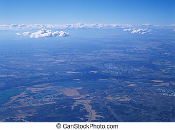 Land from above. - Aerial photo of land and clouds from ...