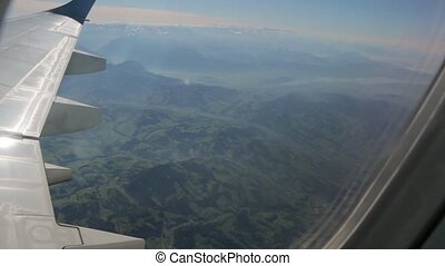 Land From Airplane Window - Land of Switzerland view from...