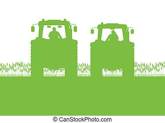 land, getreide, abbildung, feld, vektor, traktor, hintergrund, kultiviert, landwirtschaft, landschaftsbild