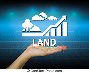 Land - Hand and land sign with dark background.