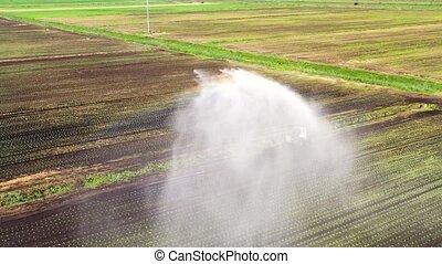 land., het systeem van de irrigatie, landbouwkundig