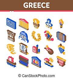 land, historia, ikonen, vektor, isometric, sätta, grekland