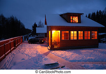 land hus, ind, vinter, aftenen