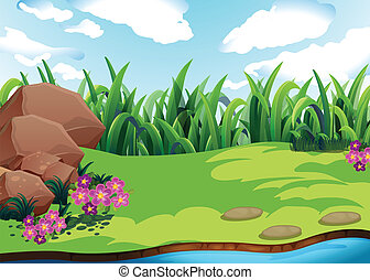 Land - Illustration of a plain with grass
