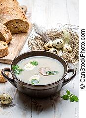 land, ingredienser, för, hemlagat, sur, soppa