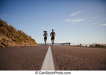 land, jogging, straat, joggers, samen