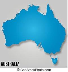 land, karta, australien, kontinent